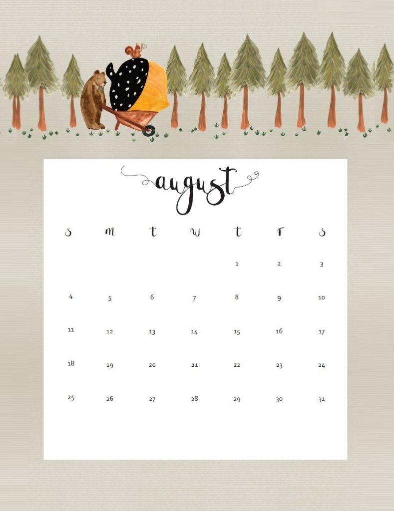 Beautiful August 2019 Wall Calendar
