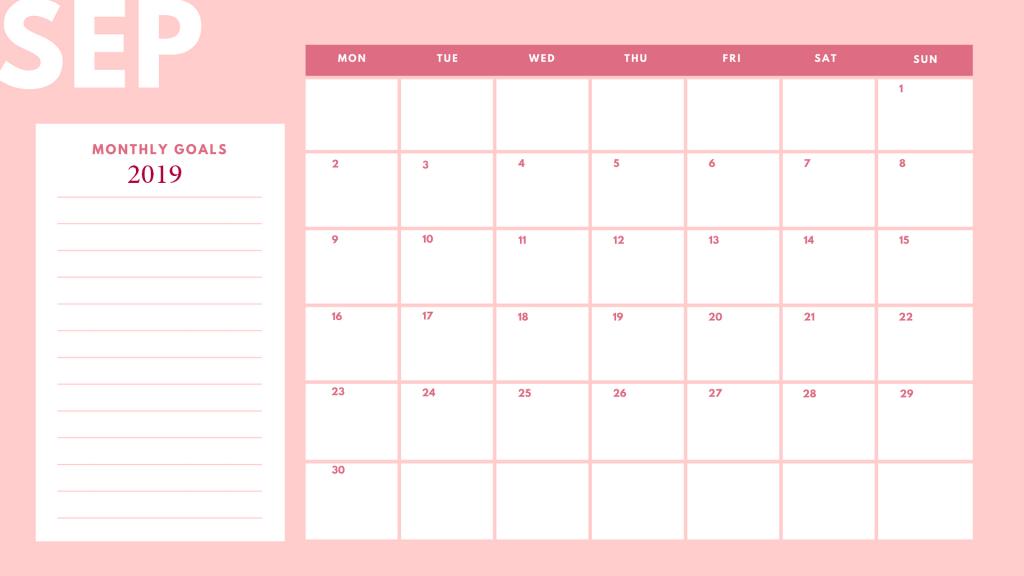 Beautiful September 2019 Cute Calendar