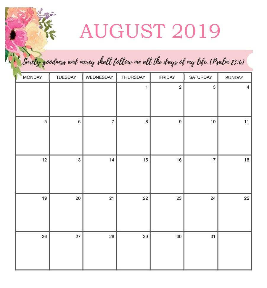 Best August 2019 Calendar Printable