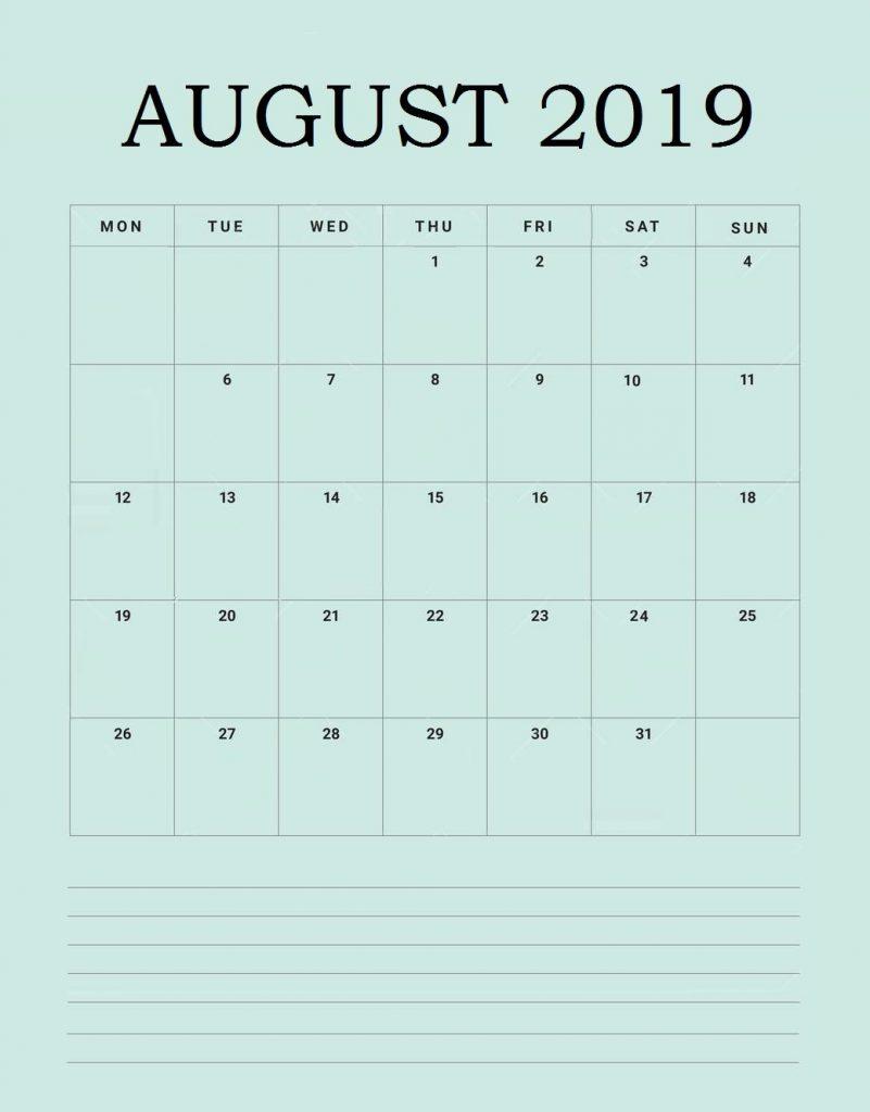 Best August 2019 Desk Calendar
