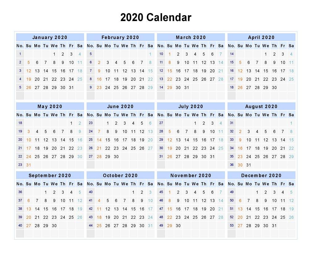 Blank 2020 12 Months Calendar