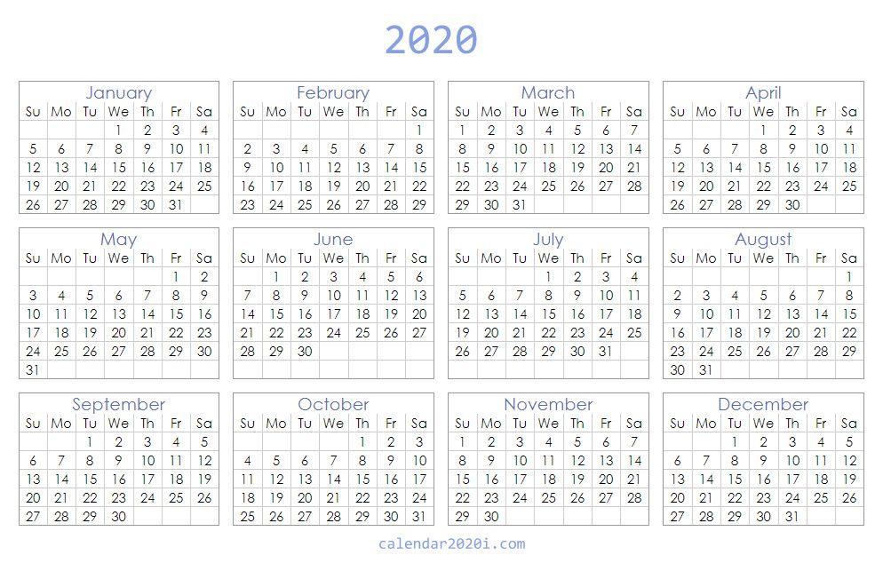 Blank 2020 Excel Calendar Printable