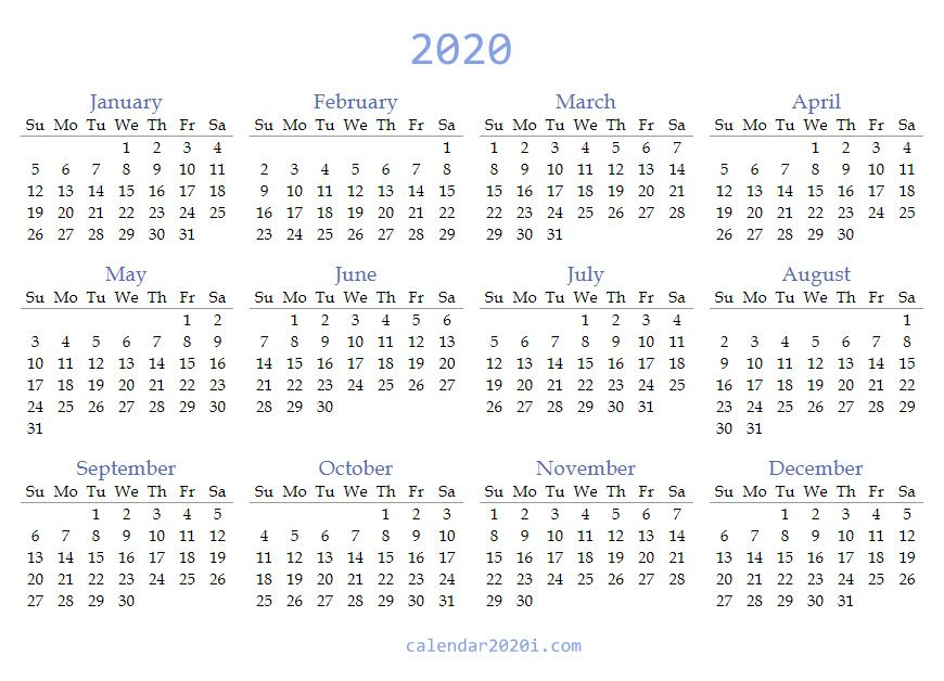 Blank 2020 PDF Calendar Printable