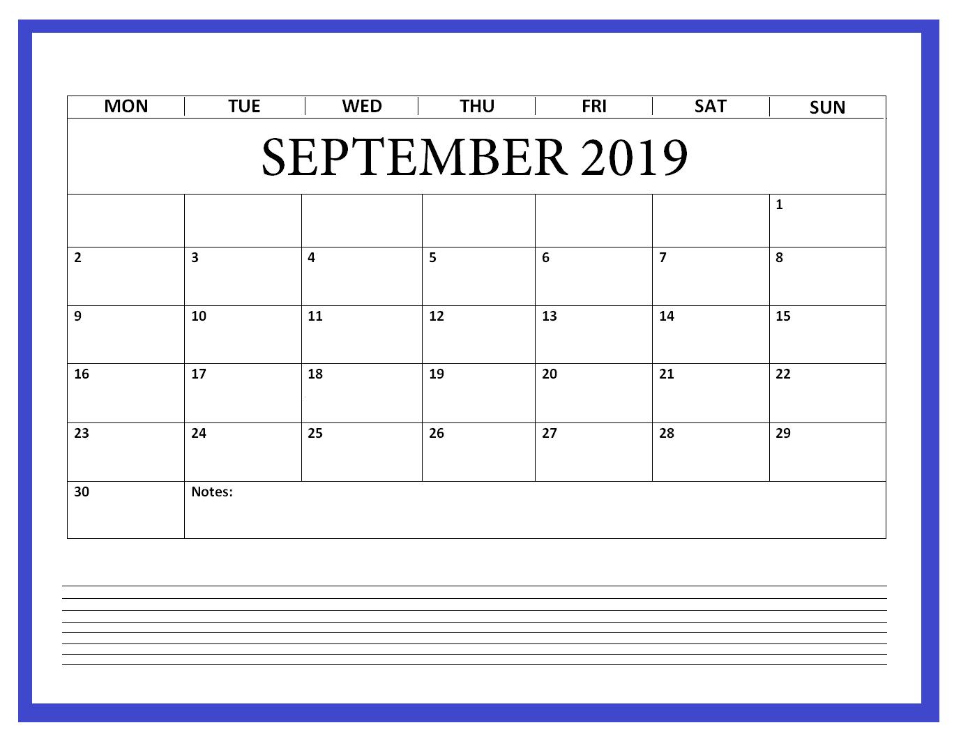 Blank September 2019 Calendar Printable