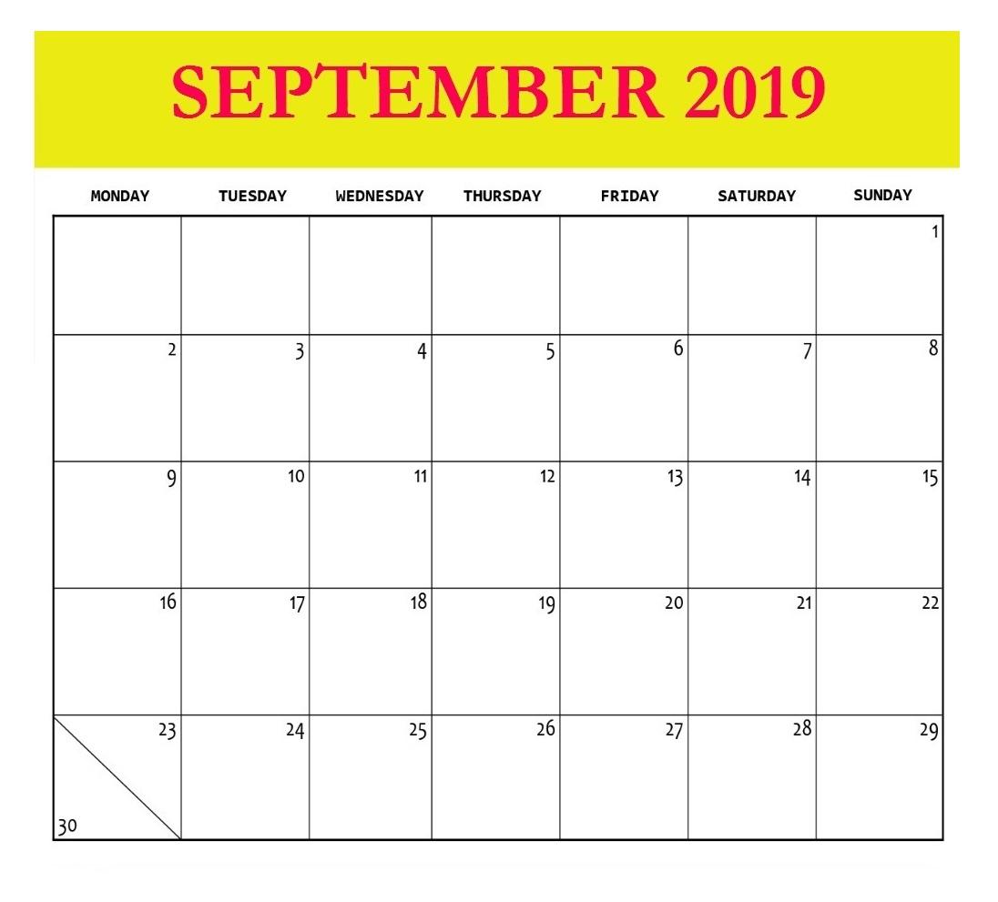 Blank September 2019 Template