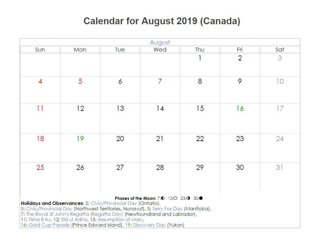 Canada August 2019 Holidays Calendar