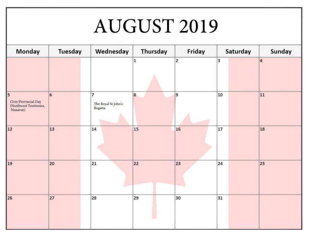 Canada August 2019 Public Holidays