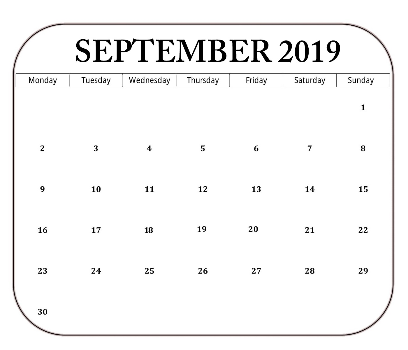 Clean Blank September 2019 Editable Calendar