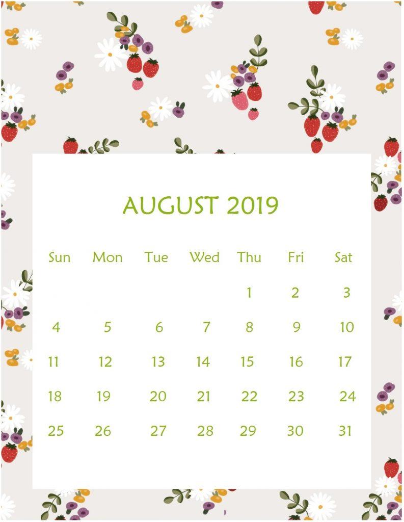 Cute August 2019 Printable Calendar