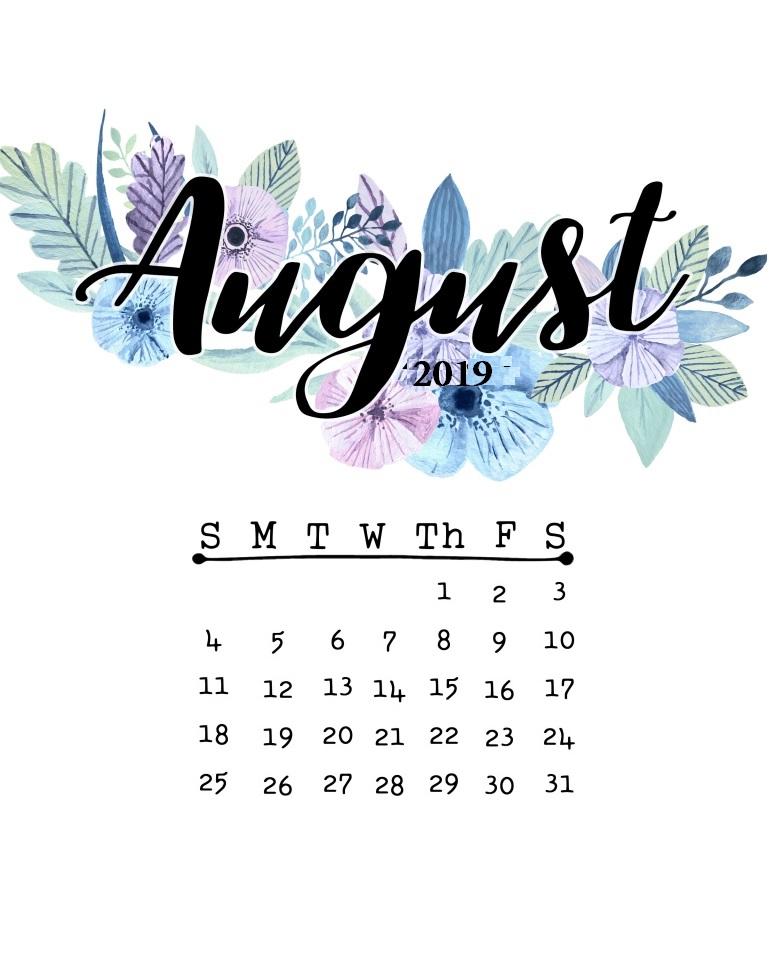 Cute Floral August 2019 Calendar