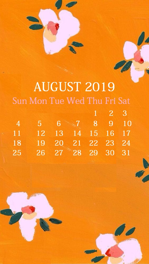 Cute iPhone August 2019 Calendar Background