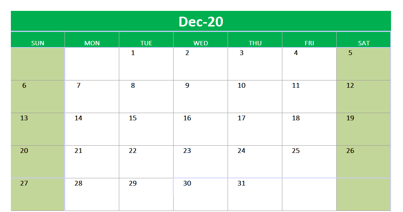 December 2020 Excel Printable Calendar