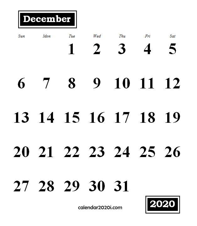 December 2020 Monthly Portrait Calendar