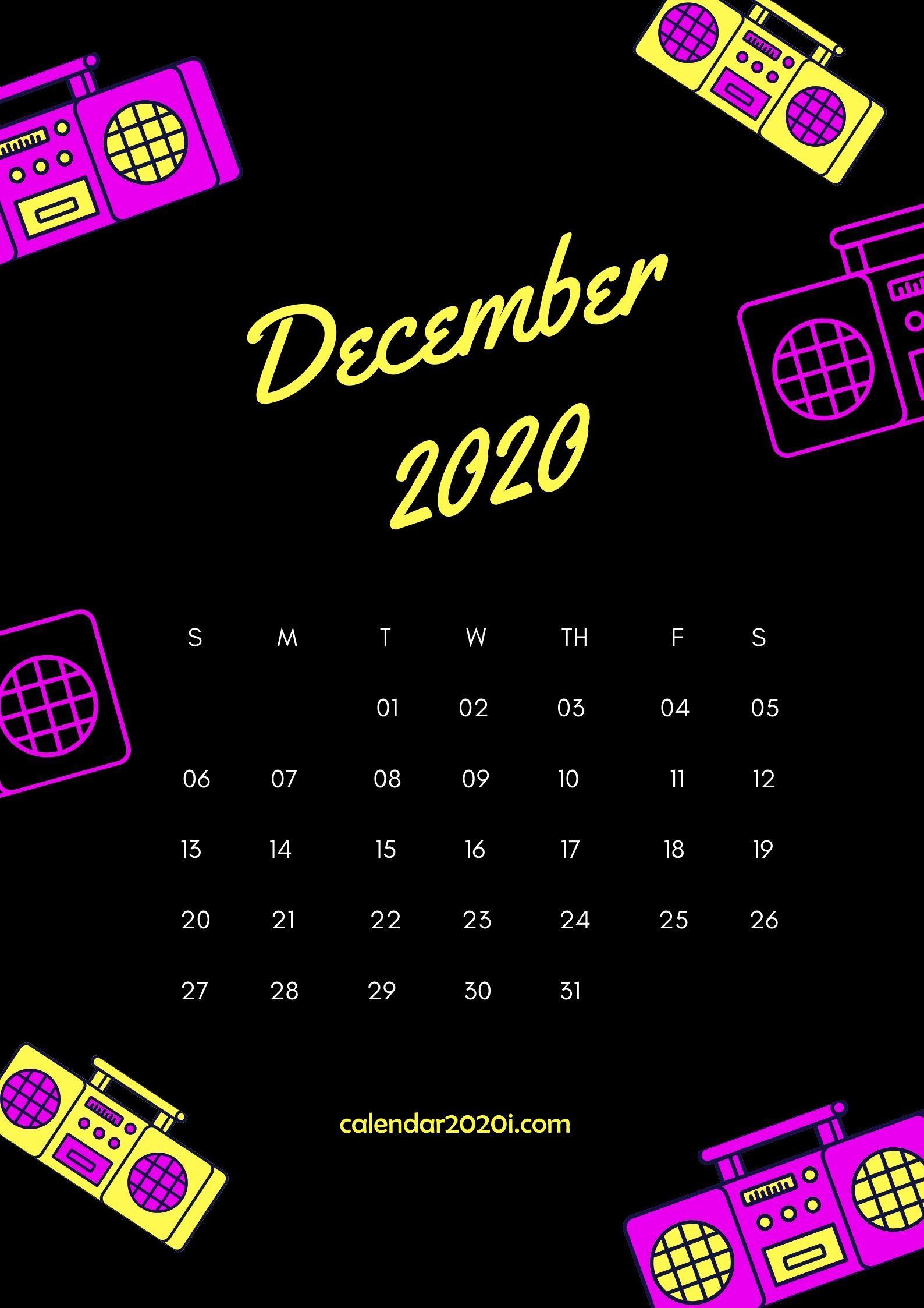 December 2020 Wall Calendar Printable