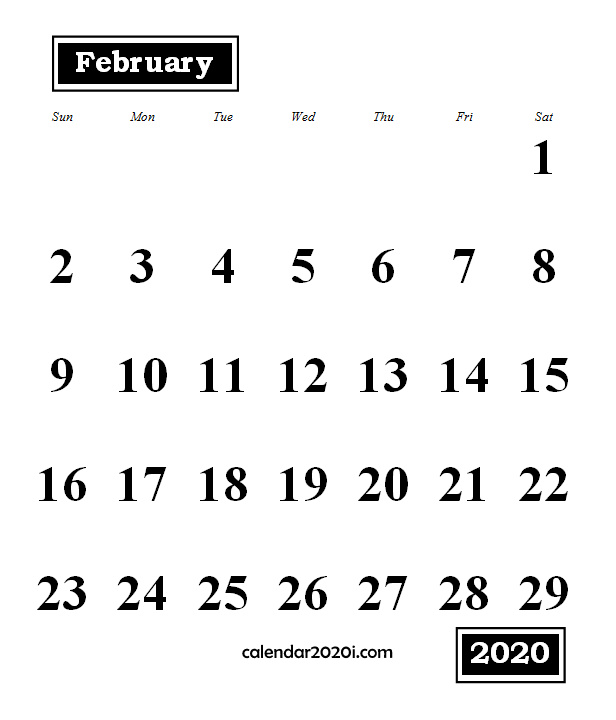 February 2020 Monthly Portrait Calendar