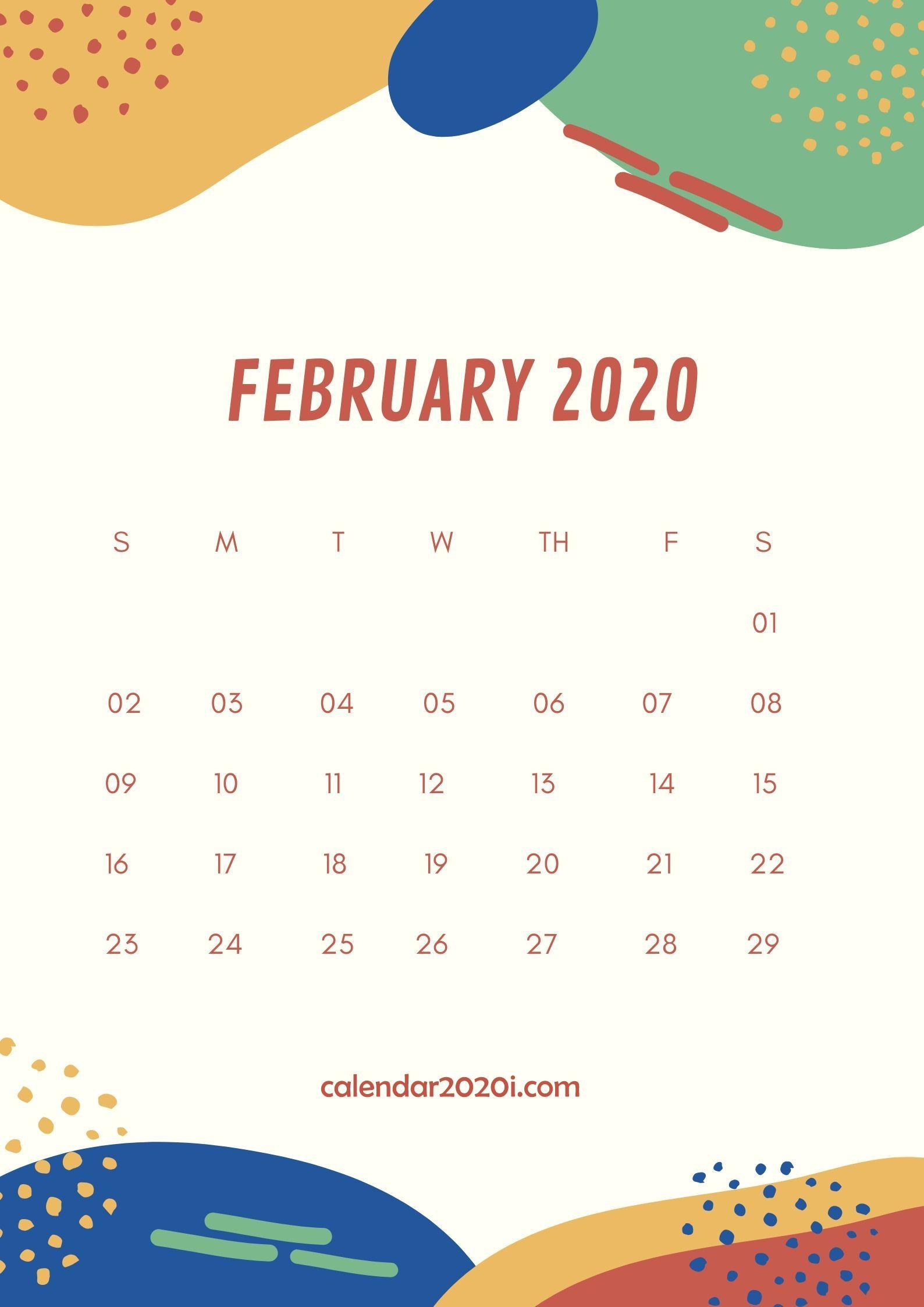 February 2020 Wall Calendar Printable