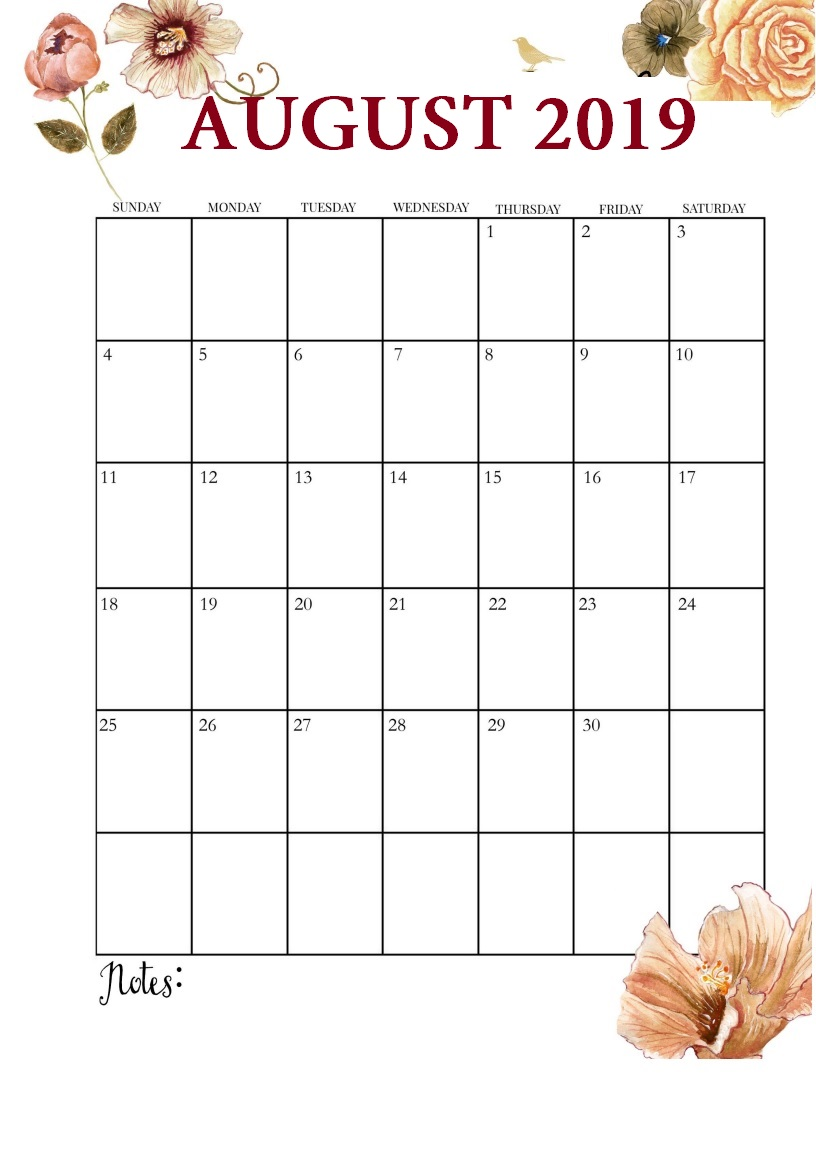 Floral August 2019 Free Calendar