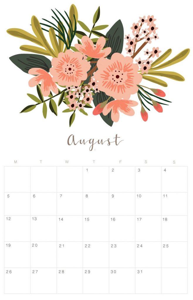Floral August 2019 Wall Calendar