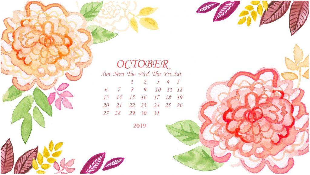 Floral October 2019 Calendar Wallpaper