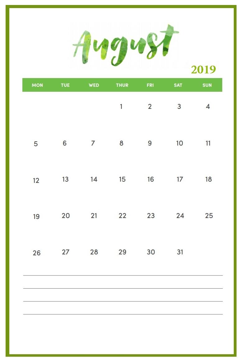Free August 2019 Calendar Printable