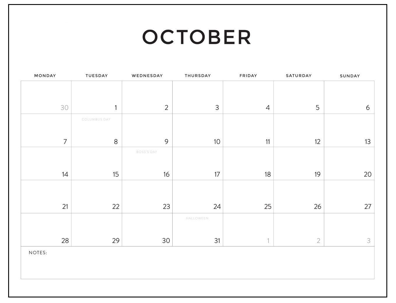 Free October 2019 Blank Calendar