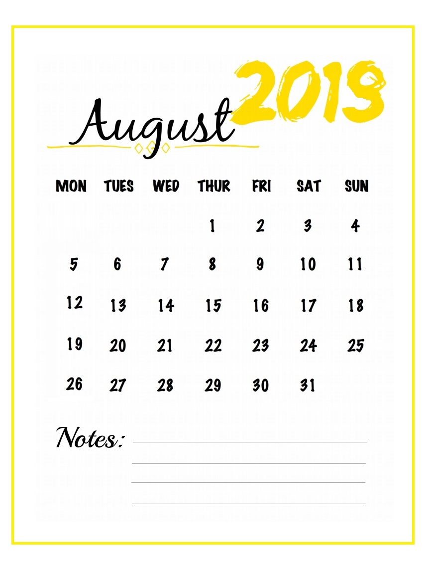 Free Printable 2019 August Watercolor Template