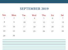 Free September 2019 Blank Calendar Template