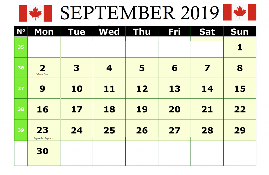 Holidays Calendar September 2019 Canada