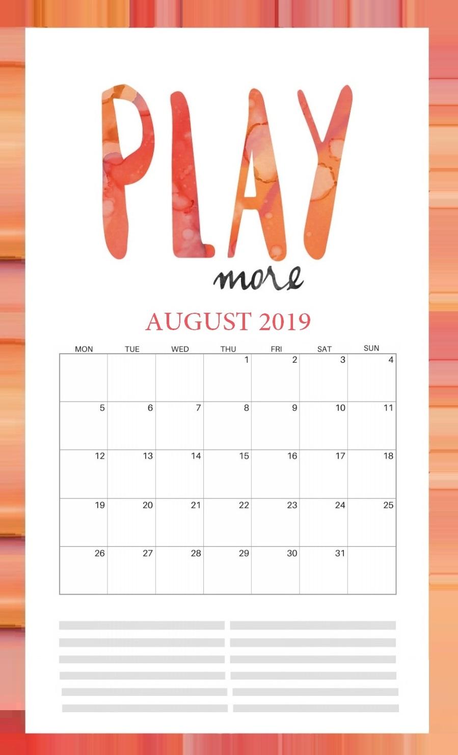 Inspiring August 2019 Calendar