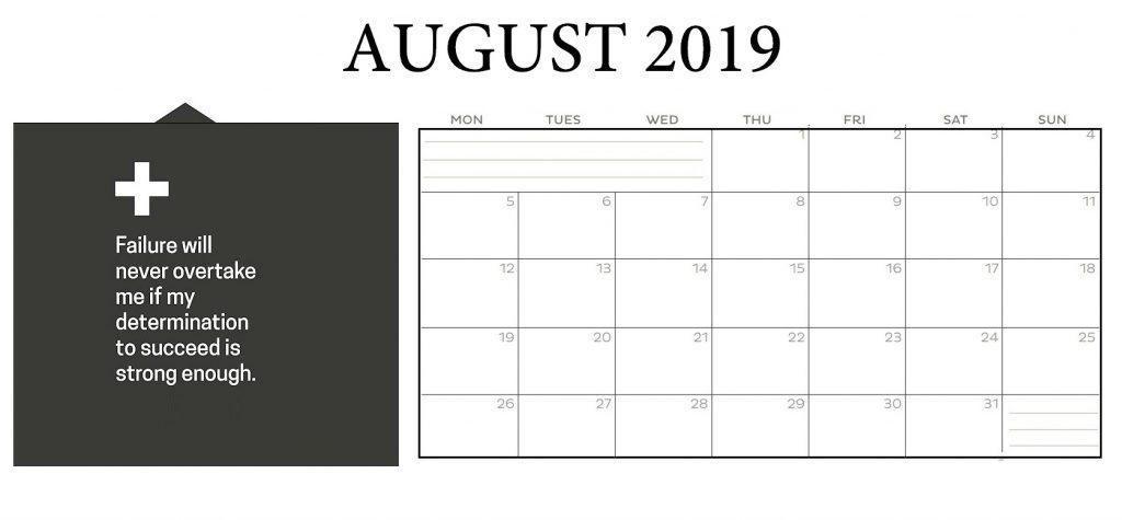 Inspiring August 2019 Desk Calendar