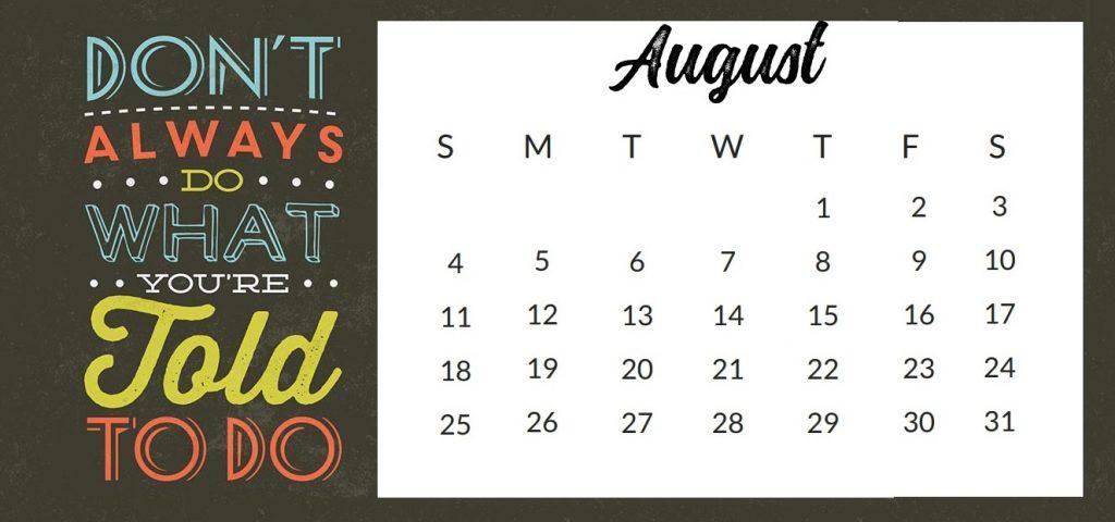 Inspiring August 2019 Quotes Calendar