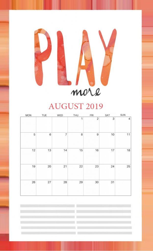 Inspiring August 2019 Wall Calendar