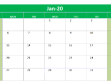 January 2020 Excel Printable Calendar