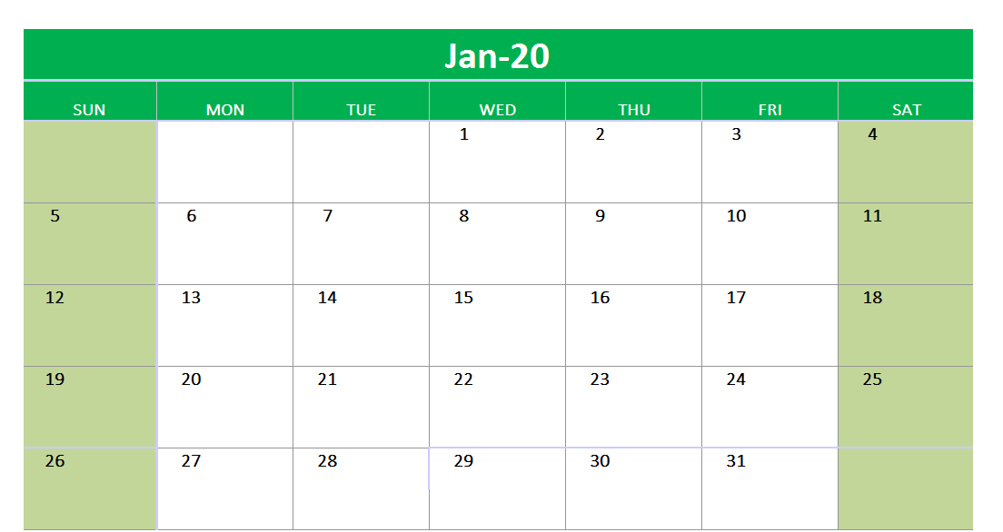January 2020 Excel Printable Calendar