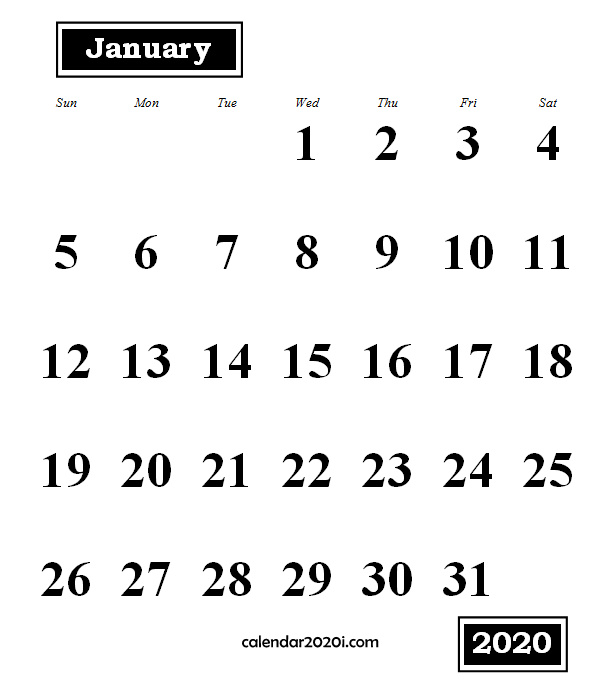 January 2020 Monthly Portrait Calendar