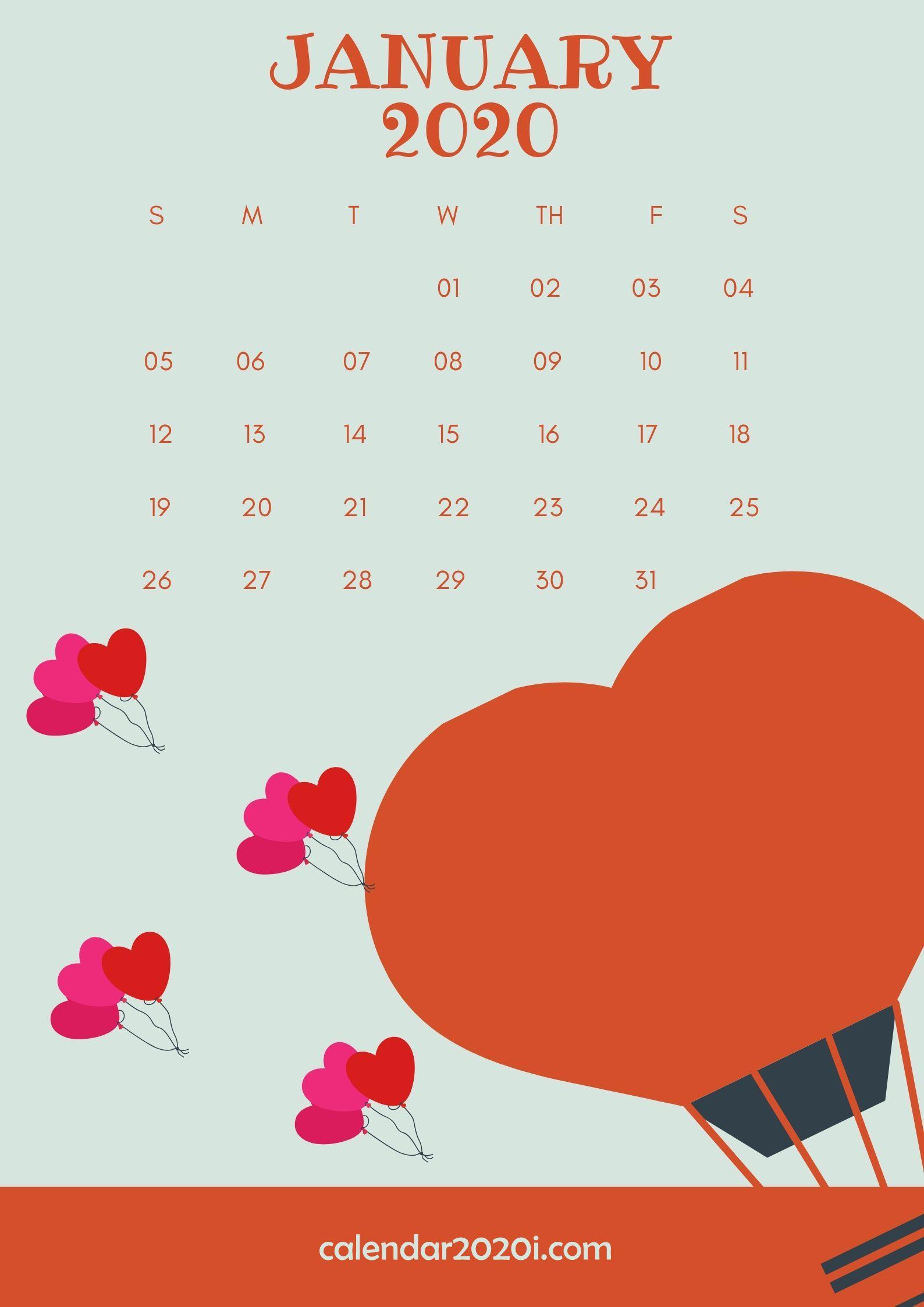 January 2020 Wall Calendar Printable