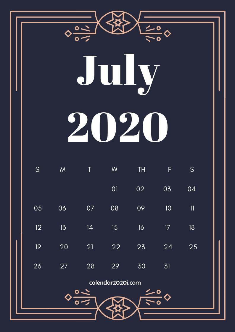 July 2020 Calendar Design