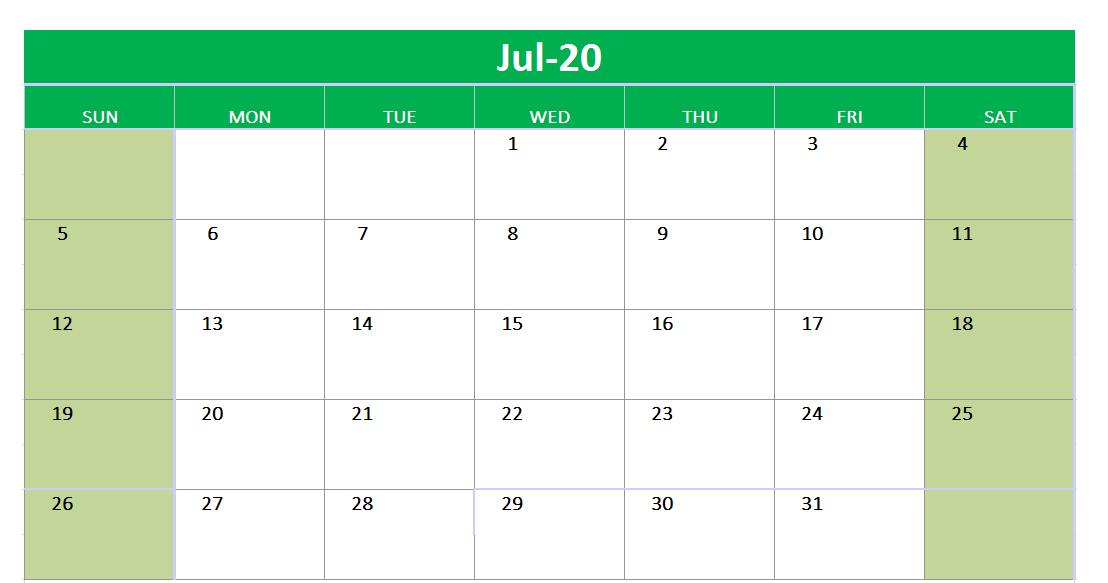 July 2020 Excel Printable Calendar