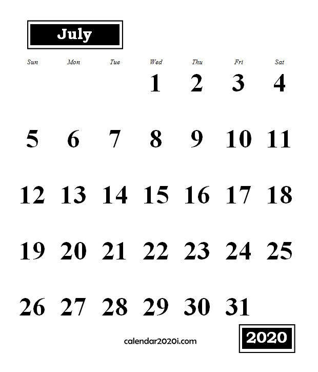 July 2020 Monthly Portrait Calendar