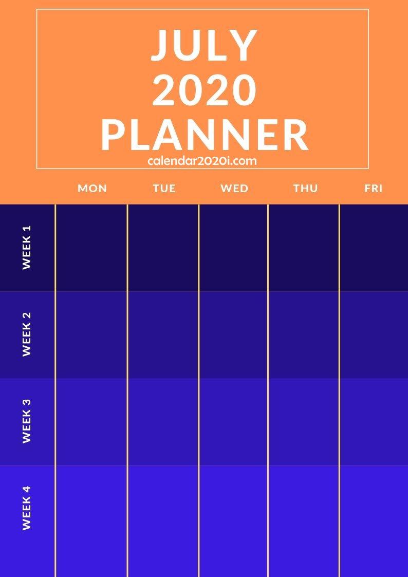 July 2020 Planner Printable