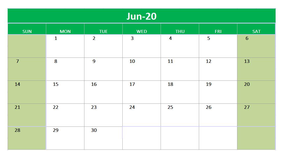 June 2020 Excel Printable Calendar