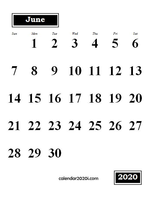 June 2020 Monthly Portrait Calendar