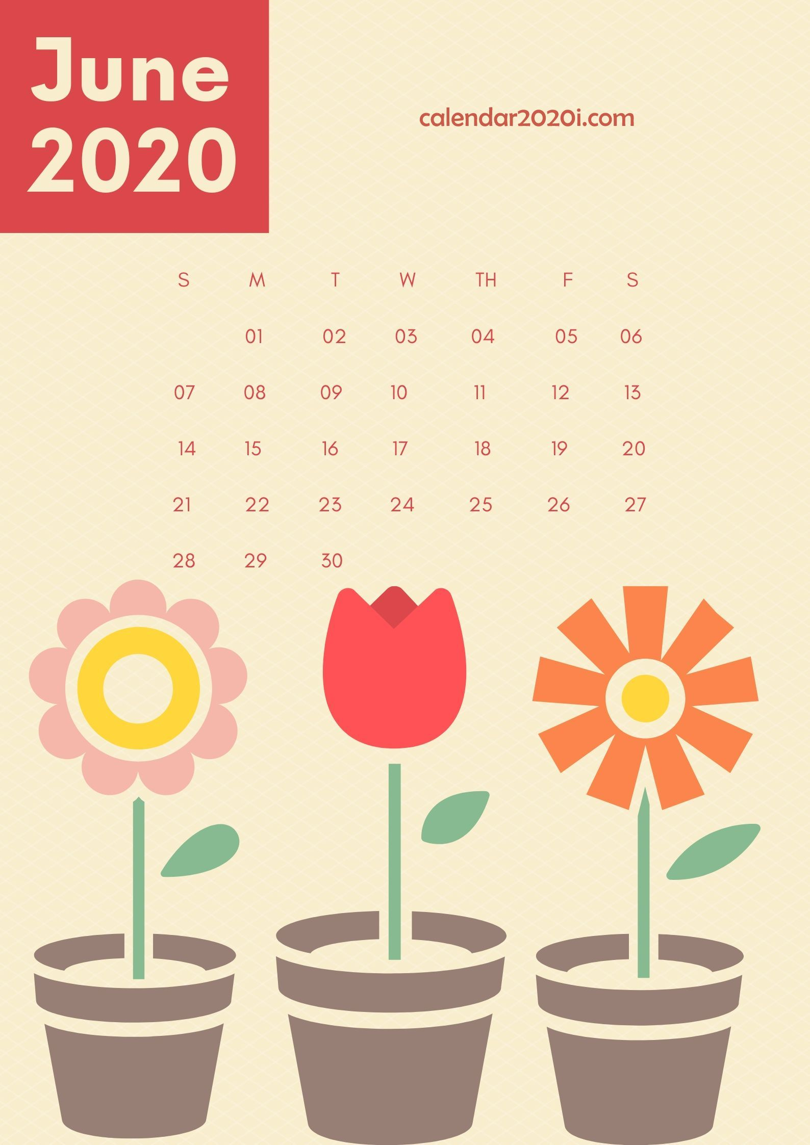 June 2020 Wall Calendar Printable