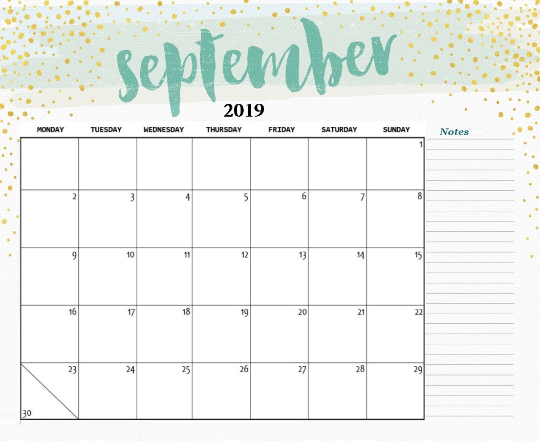 Latest September 2019 Desk Calendar