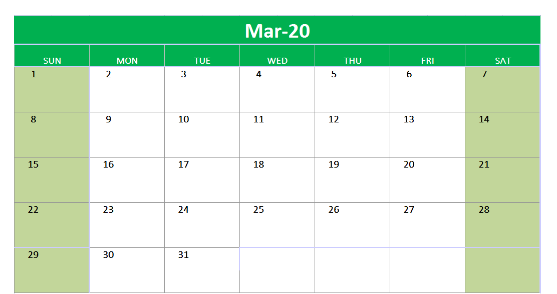 March 2020 Excel Printable Calendar