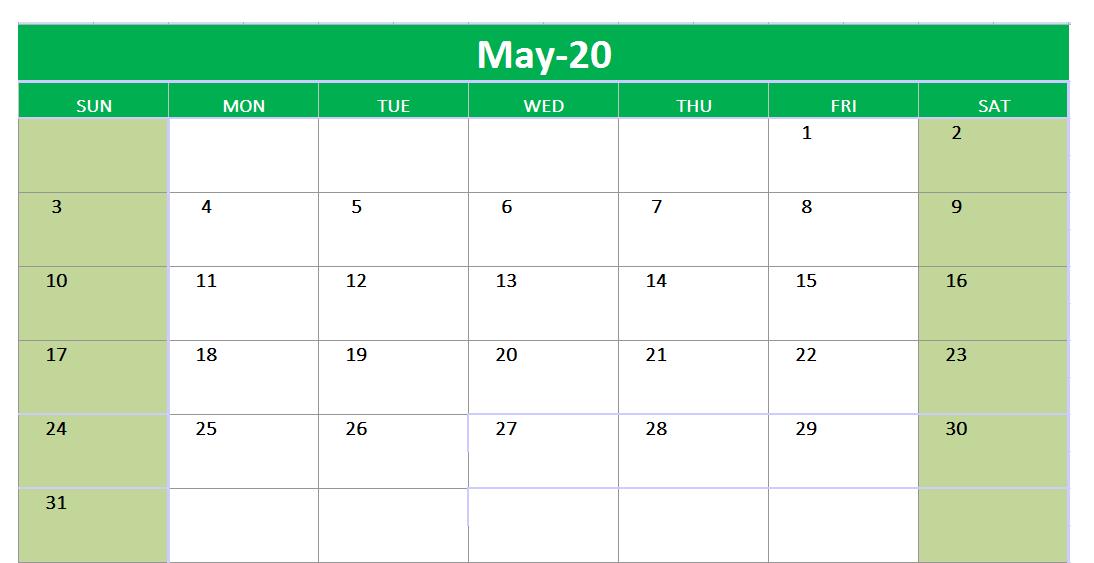 May 2020 Excel Printable Calendar