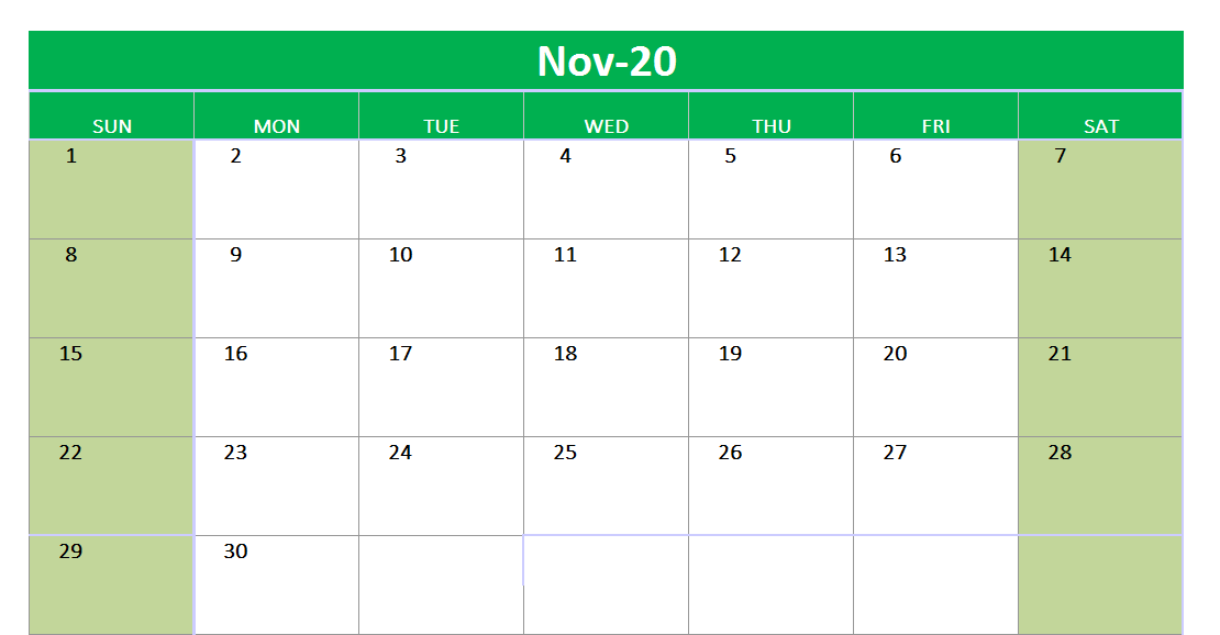 November 2020 Excel Printable Calendar