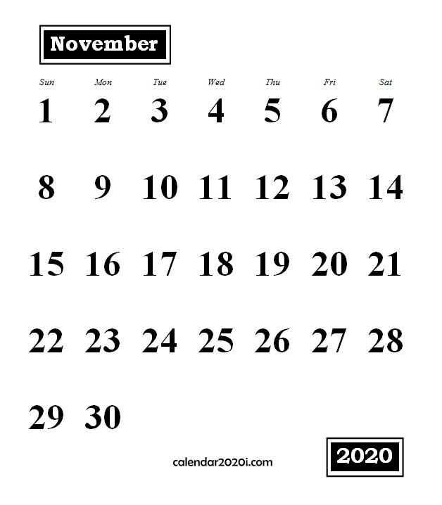 November 2020 Monthly Portrait Calendar