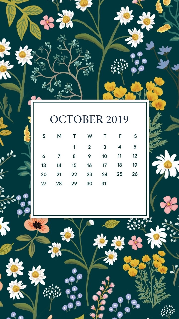 October 2019 Mobile Calendar Wallpaper