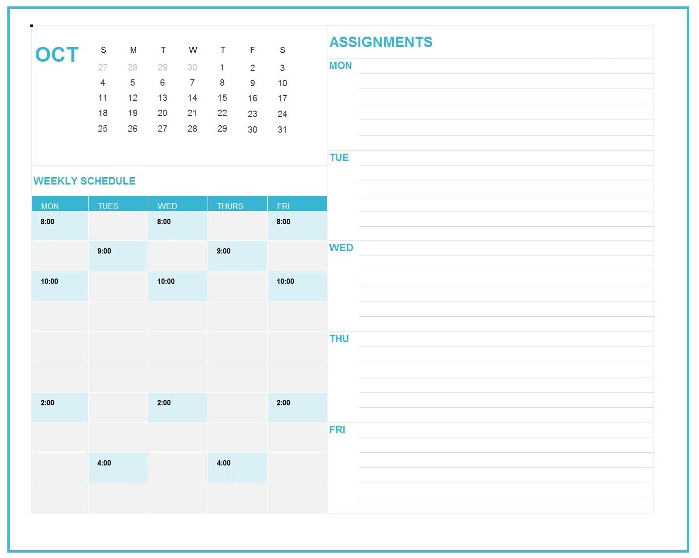 October 2019 Planner Calendar
